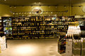 Alcohol liquor store a huge collection of alcohols wines brandy and other drinks in a supermarket Royalty Free Stock Photos