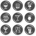 Alcohol party monochrome button set time drinks champagne wine beer cognac whiskey flat gray with shadow on white background Royalty Free Stock Photography
