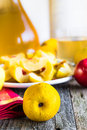 Alcohol quince liqueur sliced fruit prepare wooden setting cut apples and ready tincture Stock Photos