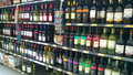Alcohol on store shelves walmart Royalty Free Stock Photo