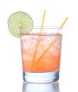 Alcohol strawberry margarita cocktail drink with lime isolated on a white background Stock Photos