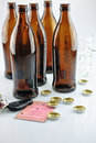 On alcohol tax license and many beer bottles Stock Photo