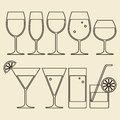 Alcohol wine beer cocktail and water glasses illustration of Stock Photo