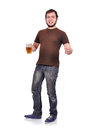 Alcoholic with beer on a white background Royalty Free Stock Images