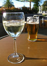Alcoholic beverages - Beer and Wine Royalty Free Stock Photo