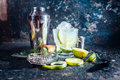 Alcoholic cocktail refreshment drink with vodka and lime served at bar frozen Royalty Free Stock Photos