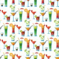 Alcoholic cocktails seamless pattern background fruit cold drinks tropical cosmopolitan freshness party alcohol sweet Royalty Free Stock Photo