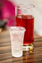 Alcoholic drink with fruit drink frozen sweet red Stock Photo