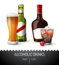 Alcoholic drinks beer and rum Royalty Free Stock Photography