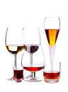 Alcoholic drinks different glasses of isolated on a white background Stock Image