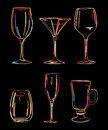 Alcoholic drinks drink glasses icon and symbol set Stock Images