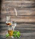 Alcoholic drinks ice mint leaves Aperitif whiskey liquor vodka Royalty Free Stock Photo