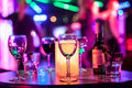 Alcoholic drinks on the table of nightclub Royalty Free Stock Photo