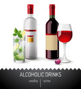 Alcoholic drinks vodka and wine Stock Photos