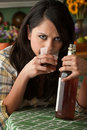 Alcoholic Latina Woman Royalty Free Stock Photography