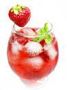 Alcoholic liqueur cocktail punch with strawberry Royalty Free Stock Photos