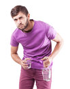 Alcoholic the young man with a alcohol bottle in a hand Stock Images
