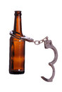 Alcoholism with handcuff Royalty Free Stock Photo