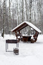 Alcove with brazier covered with snow vertical in park during heavy snowfall Royalty Free Stock Image