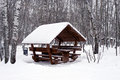 Alcove in snow between trees covered with park during heavy snowfall Royalty Free Stock Photo