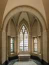 Alcove and windows an with beautiful arches frosted old a lone seat Stock Photos