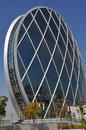 Aldar headquarters building in abu dhabi uae it is the first circular of its kind the middle east the distinctive Stock Photo