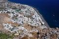 Aldea de Kamari, isla Santorini, Grecia Foto de archivo