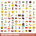 100 ale party icons set, flat style