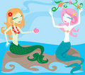 Alegria dos Mermaids Foto de Stock Royalty Free