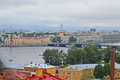 Alekseevsky ravelin of Peter and Paul Fortress and Vasilyevsky Island in Saint Petersburg, Russia Royalty Free Stock Photo