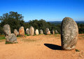 Alentejo region evora chromlech of almendres portugal standing granite stones from the megalithic period archaeoastronomical Stock Photo