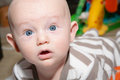 Alert cute blue eyed baby chubby boy with eyes and surprised or scared expression on his face Stock Images