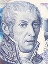 Alessandro Volta portrait from Italian money