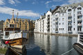 Alesund city Norway in art nouveau style Royalty Free Stock Photo