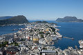 Alesund the city of in norway viewed from the fjellstu on mount aksla Royalty Free Stock Photo