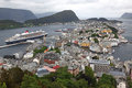 Alesund of norway erial view from the mountain aksla at the is know as the art deco city due to it s many art deco Royalty Free Stock Photos