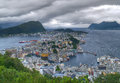 Alesund norway storm scandinavian typical landscape and weather Stock Photography
