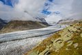 Aletsch glacier landscape shot of the in switzerland Stock Photography