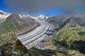 Aletsch Glacier - glacier in the Alps mountains, landmark attraction in Switzerland Royalty Free Stock Photo