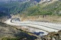 Aletsch glacier the largest in the alps Stock Photo