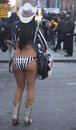 Alex the naked cowgirl entertains the crowd in times square during super bowl xlviii week in manhattan new york january on january Stock Photography