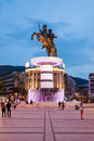 Alexander the great warrior on a horse statue skopje Royalty Free Stock Image