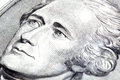 Alexander hamilton portrait of in front of the five dollar bill Royalty Free Stock Photos
