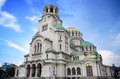 The Alexander Nevsky orthodox Cathedral church in blue pink sunset, in capital Sofia, Bulgaria Royalty Free Stock Photo