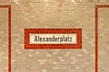 Alexanderplatz sign at u ban station in berlin ceramic tiled wall with germany Stock Image