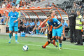 Alexandr kucher knocks opponent during the match between shakhtar donetsk city ukraine vs zenit st petersburg russia united Stock Photos