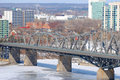 Alexandra Bridge winter view, Ottawa Stock Image