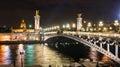 Alexandre III bridge at night in Paris Royalty Free Stock Photo
