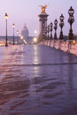 Alexandre iii bridge in paris at dawn Stock Photo