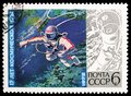 Alexei Leonov spacewalking during Voskhod 2, 15th Anniv of